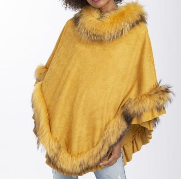Fox And Faux Suede Poncho