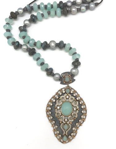 Chalcedony Statement Necklace