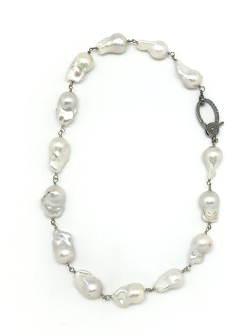 Baroque Pearl and Diamond Clasp Necklace