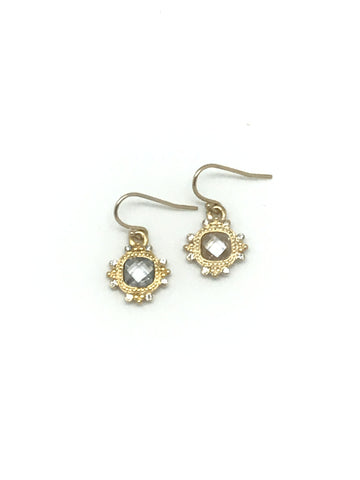 Faceted Clear Crystal and Gold Earring