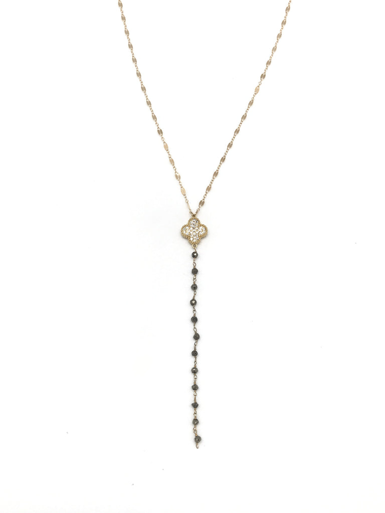 Gold and Pyrite Y Necklace