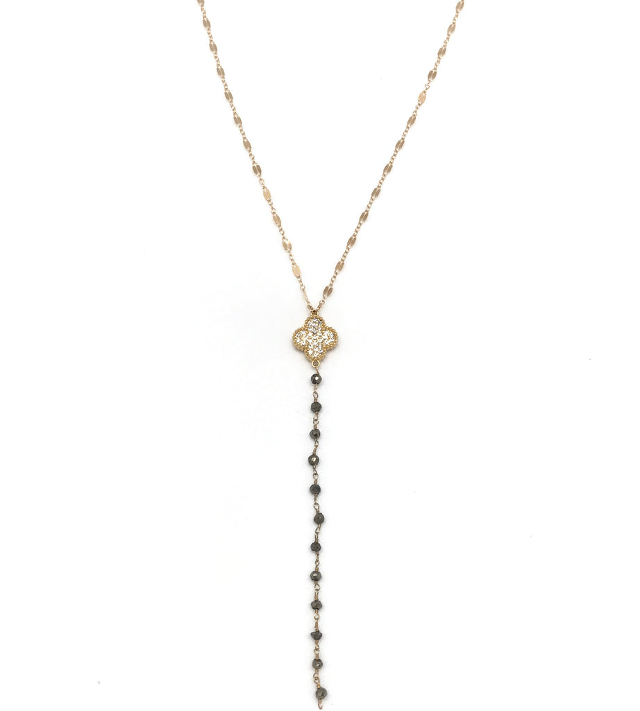 Delicate Gold And Pyrite Y Necklace