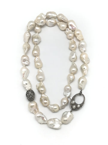 Long Baroque Pearl And Diamond Necklace