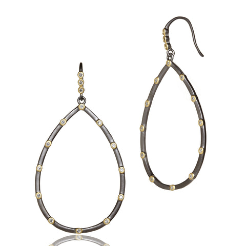 Thin Bezel Station Teardrop Earring