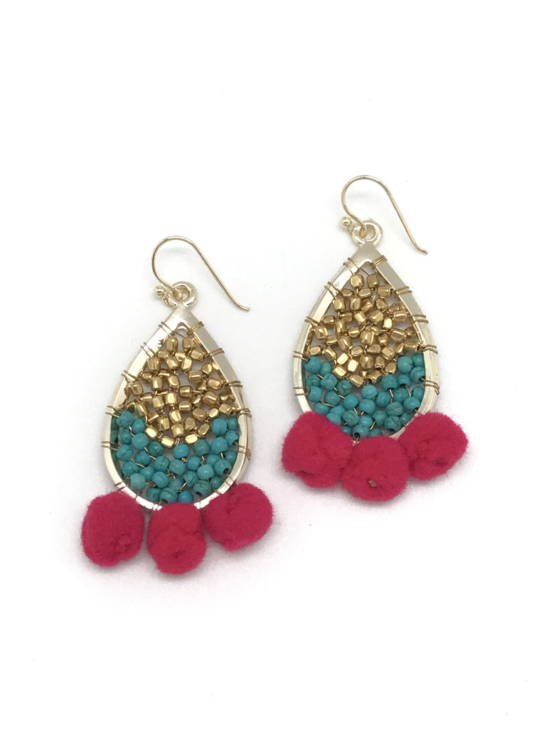 Pink and Turquoise Pom Pom Earrings