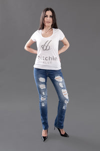 LILY WAS HERE I Shining Diamonds - Designer Jeans Straight Leg Destroyed mit Swarovski® Crystals