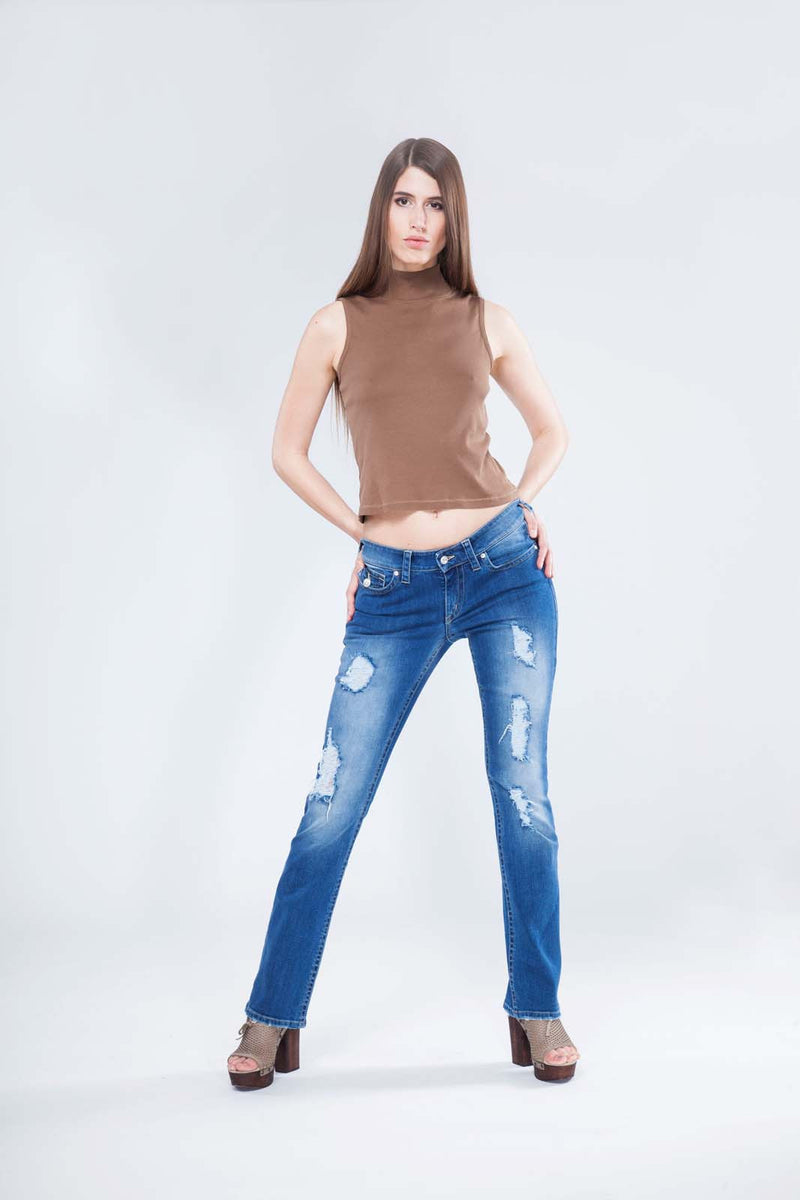 INDIA VINTAGE - Exclusive Jeans Straight Leg mit Swarovski® Crystals Buttons und Nieten