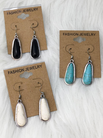 silver turquoise earrings in black ivory and turquoise | shop women's clothing clothes apparel accessories jewelry and gifts online or in store at boerne pixie boutique | a favorite of locals and san antonio visitors too