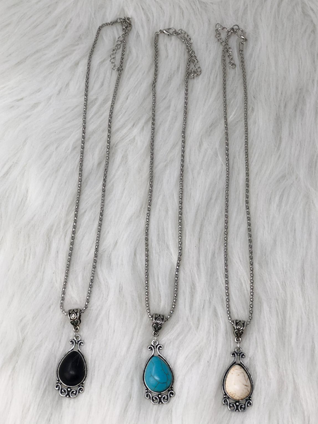 silver turquoise necklace in turquoise black and white | shop women's clothing clothes apparel accessories jewelry and gifts online or in store at boerne pixie boutique | a favorite of locals and san antonio visitors too