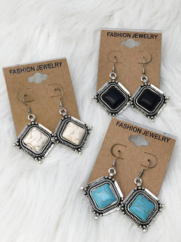 silver turquoise earrings in black ivory and turquoise | shop women's clothing clothes apparel accessories and gifts online or in store at boerne pixie boutique | a favorite of locals and san antonio visitors too