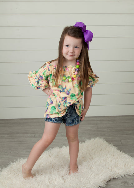 addison shirt blouse top toddler girls youth ruffle sleeves floral print boerne pixie boutique shop online or in store