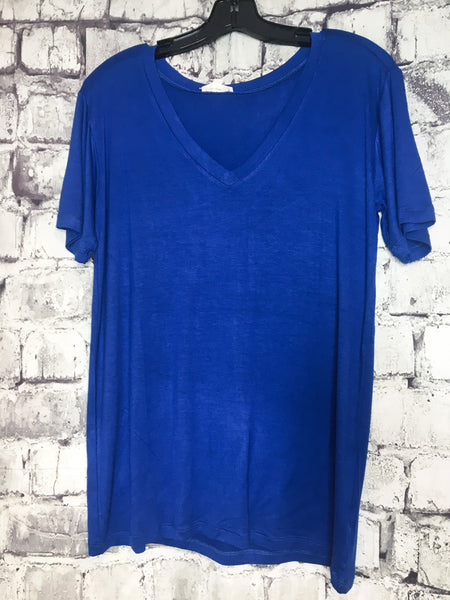 blue boxy v-neck tee shirt t-shirt top blouse summer fashion | shop women's clothing clothes apparel online or in store at boerne pixie boutique | a favorite of locals and san antonio visitors too