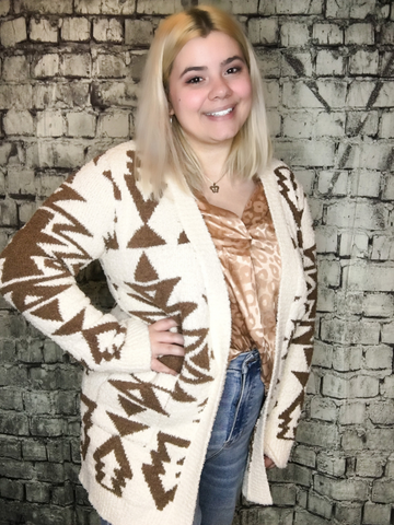 creamy off white ivory and brown aztec print cardigan sweater top shirt blouse |  fall and winter fashion | shop women's clothing clothes apparel accessories jewelry and gifts online or in store at boerne pixie boutique | a favorite of locals and san antonio visitors too | top best boerne boutiques
