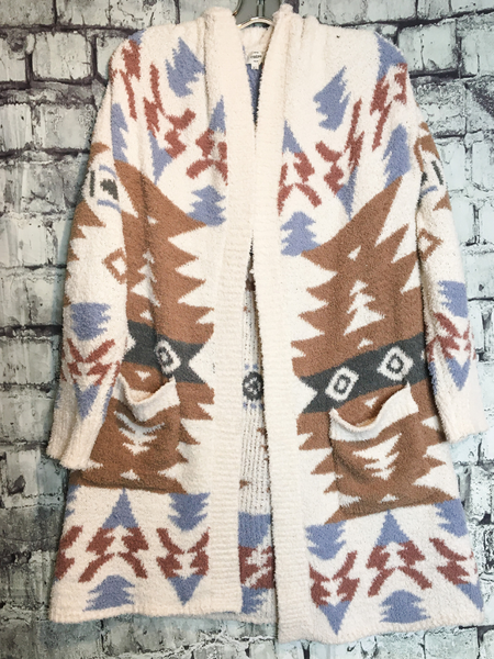 ivory brown gray aztec print cardigan sweater top shirt blouse | fall and winter fashion | shop women's clothing clothes apparel accessories jewelry and gifts online or in store at boerne pixie boutique | a favorite of locals and san antonio visitors too