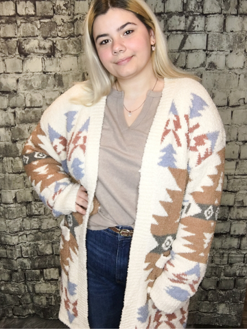 Ivory Aztec Cardigan - Plus