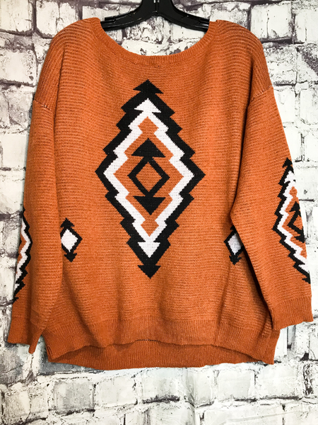 orange rust black white aztec print sweater sweatshirt top shirt blouse | fall and winter fashion | shop women's clothing clothes apparel accessories jewelry and gifts online or in store at boerne pixie boutique | a favorite of locals and san antonio visitors too