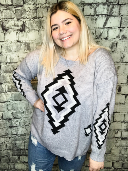 gray black white aztec print sweater sweatshirt top shirt blouse | fall and winter fashion | shop women's clothing clothes apparel accessories jewelry and gifts online or in store at boerne pixie boutique | a favorite of locals and san antonio visitors too