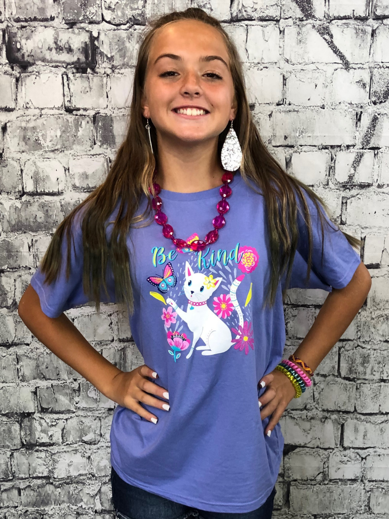 be kind kitten youth tee shirt t-shirt pixie boutique boerne shop online or in store