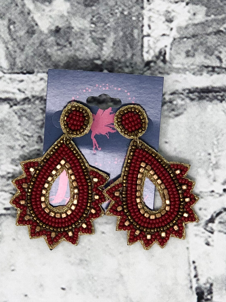 burgundy red desert dreaming seed bead earrings women's jewelry accessories pixie boerne boutique shop online or in store