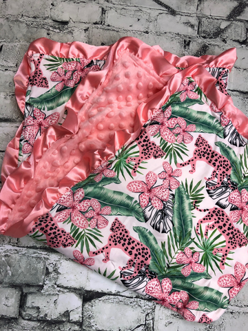 tropical cheetah minky blanket baby infant toddler kids girls clothing accessories bedding boerne pixie boutique shop online or in store