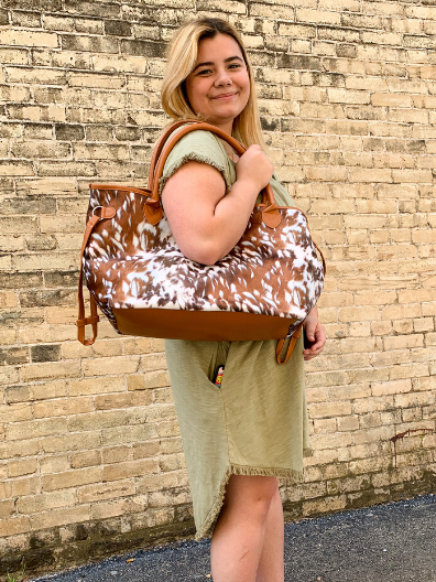 brown cow print tote handbag purse weekender diaper bag | shop women's clothing clothes apparel online or in store at boerne pixie boutique | a favorite of locals and san antonio visitors too
