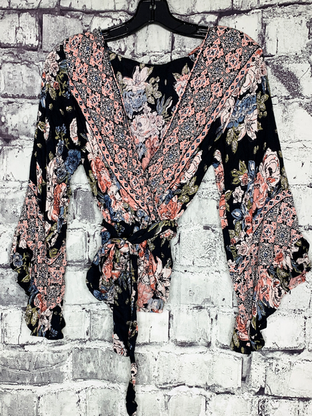 plus size black floral v-neck boho wrap top shirt blouse cropped kimono | shop women's clothing clothes apparel accessories and gifts online or in store at boerne pixie boutique | a favorite of locals and san antonio visitors too