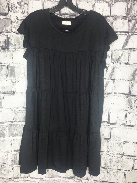 black plus size peasant dress ruffles women's clothing apparel clothes pixie boutique boerne shop online or in store
