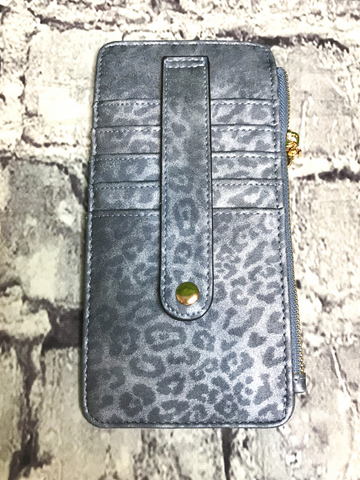 blue cheetah print credit card wallet | shop women's clothing clothes apparel accessories jewelry and gifts online or in store at boerne pixie boutique | a favorite of locals and san antonio visitors too