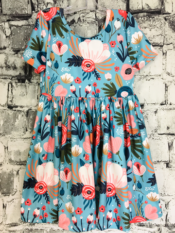 blue pink floral twirl dress peony kids youth clothing apparel clothes pixie boutique boerne shop online or in store