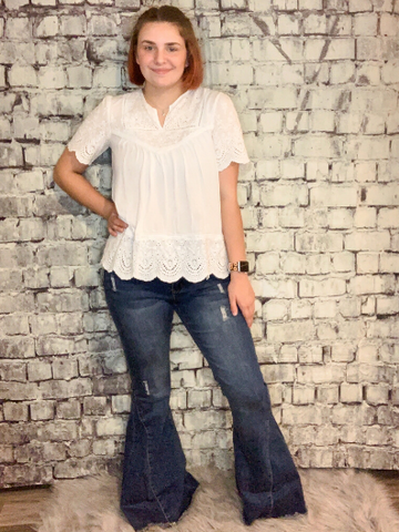 denim blue bell bottom jeans pants bell bottoms | shop women's clothing clothes apparel online or in store at boerne pixie boutique | a favorite of locals and san antonio visitors too