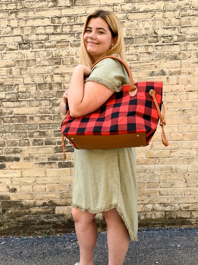 red black brown buffalo plaid tote handbag purse weekender diaper bag | shop women's clothing clothes apparel online or in store at boerne pixie boutique | a favorite of locals and san antonio visitors too