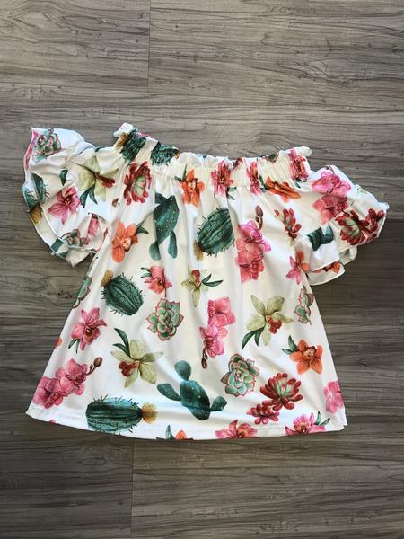 addison shirt blouse top toddler girls youth ruffle sleeves floral print boerne pixie boutique shop online or in store cactus print