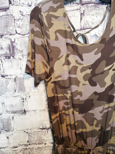 short sleeve jumpsuit camo camouflage drawstring women's clothing apparel clothes boerne pixie boutique shop online or in store