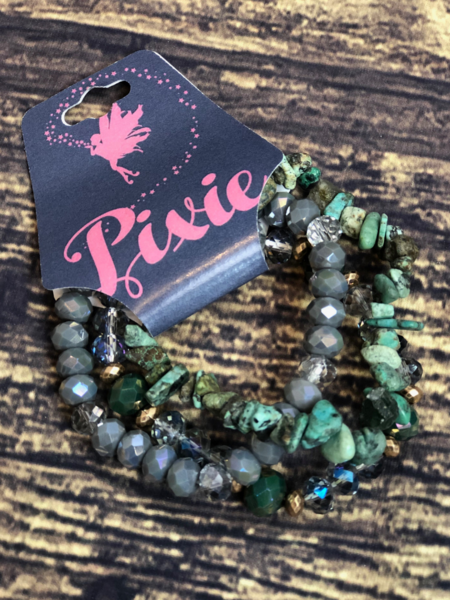 crystal stone bracelet set green gray women's jewelry accessories boerne pixie boutique shop online or in store