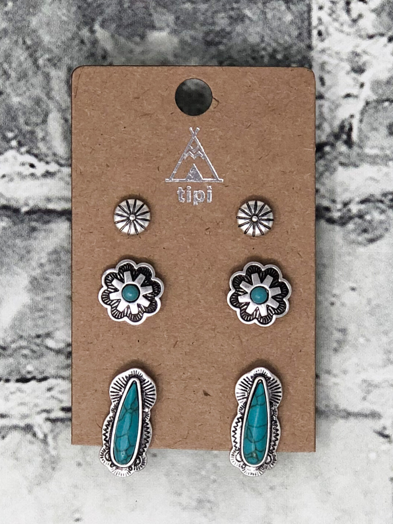 crazy horse earring trio turquoise silver women's jewelry accessories boerne pixie boutique shop online or in store