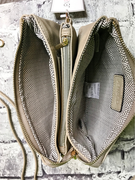 grey gray khaki crossbody bag wristlet purse handbag | shop women's clothing clothes apparel accessories jewelry and gifts online or in store at boerne pixie boutique | a favorite of locals and san antonio visitors too