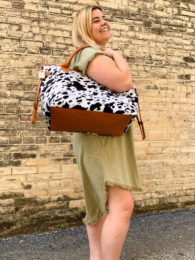 black and brown cowhide tote bag purse diaper bag | shop women's clothing clothes apparel online or in store at boerne pixie boutique | a favorite of locals and san antonio visitors too