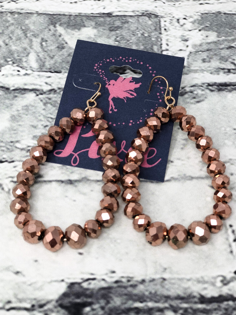 bronze crystal earrings beaded hoops women's jewelry accessories pixie boutique boerne shop online or in store