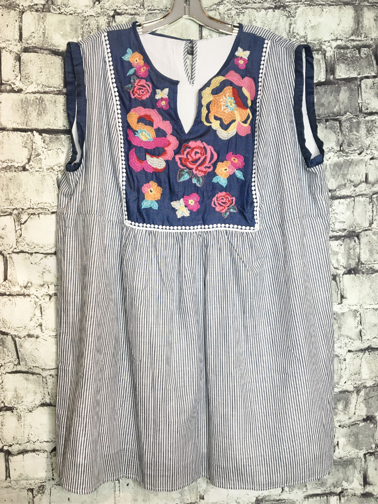 embroidered floral dress with ticking stripe | shop women's clothing clothes apparel online or in store at boerne pixie boutique | a favorite of locals and san antonio visitors too