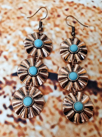 daisy chain earrings in copper and turquoise shop women's jewelry and accessories online or in store at boerne pixie boutique san antonio texas hill country