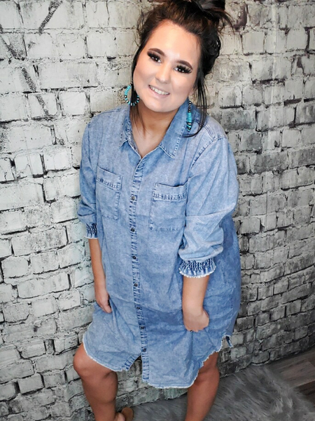 plus size denim shirt dress | shop women's clothing clothes apparel accessories and gifts online or in store at boerne pixie boutique | a favorite of locals and san antonio visitors too