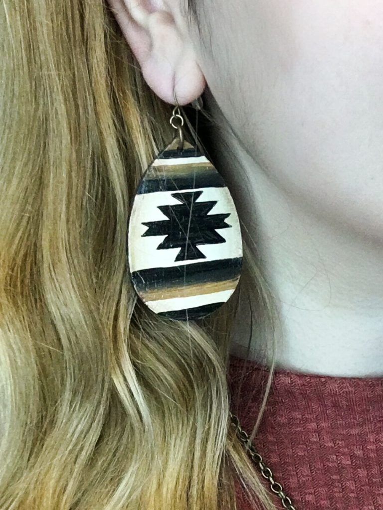 desert days mini earrings wooden earrings santa fe style teardrop earrings shop women's accessories jewelry online or in store boerne pixie boutique san antonio texas hill country