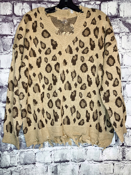 brown tan cream distressed leopard print sweater top shirt blouse | fall and winter fashion | shop women's clothing clothes apparel accessories jewelry and gifts online or in store at boerne pixie boutique | a favorite of locals and san antonio visitors too