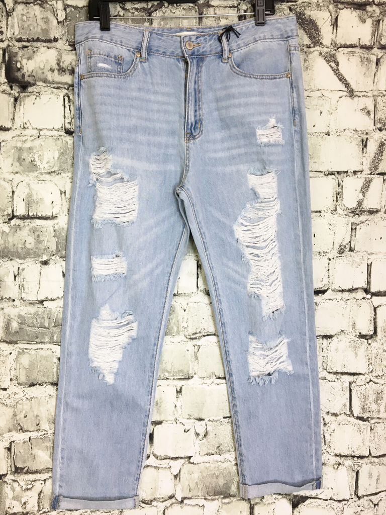 distressed boyfriend denim jeans women's clothing apparel clothes pixie boutique boerne shop online or in store