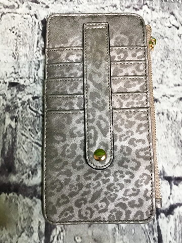dark silver cheetah print credit card wallet | shop women's clothing clothes apparel accessories jewelry and gifts online or in store at boerne pixie boutique | a favorite of locals and san antonio visitors too