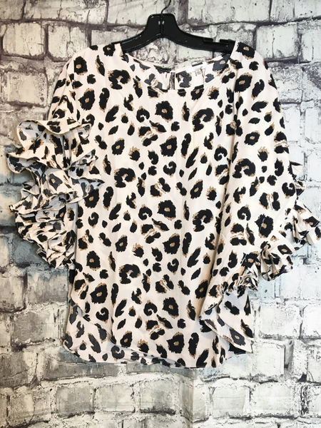 ivory brown black leopard print floral dolman top with ruffle sleeves shirt blouse | fall and winter fashion | shop women's clothing clothes apparel accessories jewelry and gifts online or in store at boerne pixie boutique | a favorite of locals and san antonio visitors too
