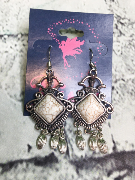 silver turquoise earrings in white ivory | shop women's clothing clothes apparel accessories jewelry and gifts online or in store at boerne pixie boutique | a favorite of locals and san antonio visitors too