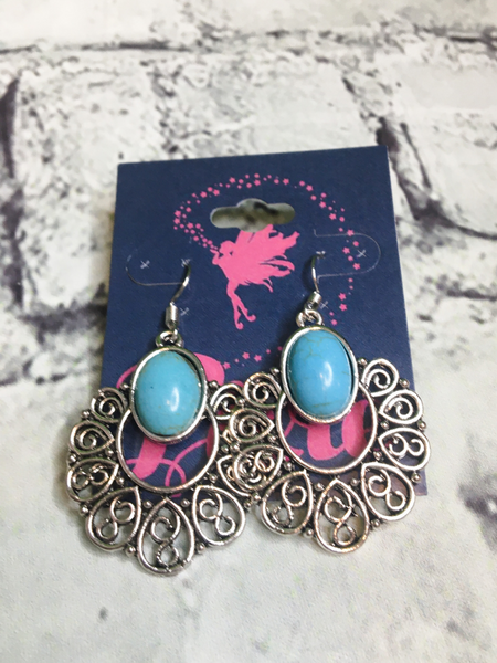 silver turquoise earrings in turquoise | shop women's clothing clothes apparel accessories jewelry and gifts online or in store at boerne pixie boutique | a favorite of locals and san antonio visitors too