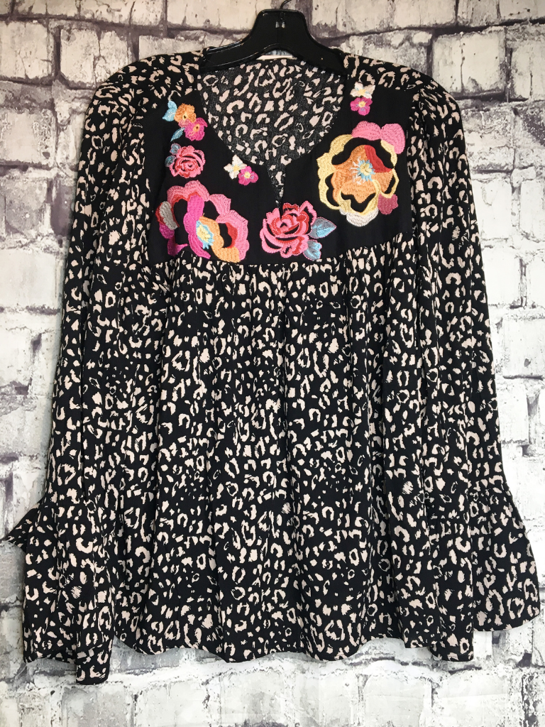 black flowy embroidered floral leopard print top shirt blouse | fall and winter fashion | shop women's clothing clothes apparel accessories jewelry and gifts online or in store at boerne pixie boutique | a favorite of locals and san antonio visitors too