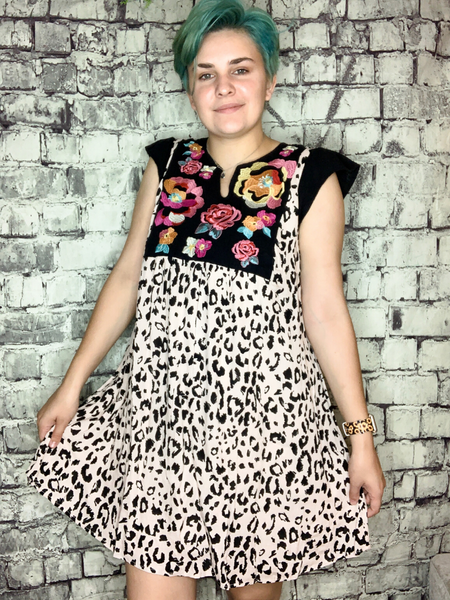 leopard animal print dress with floral embroidery | shop women's clothing clothes apparel accessories and gifts online or in store at boerne pixie boutique | a favorite of locals and san antonio visitors too